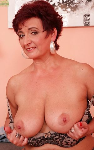 Hot grandma Jessica has incredible big natural tits
