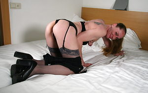 Small tits Dutch milf strips to stockings in bed