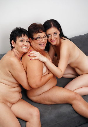 Chubby grannies get naked with a young lesbian girl