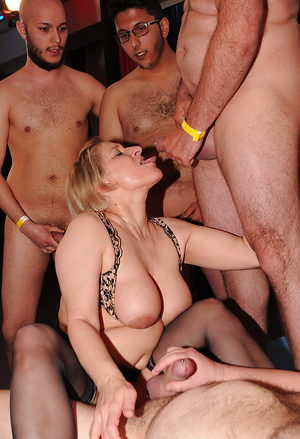 German mature gangbang party, lots of dicks and only two lusty pussies