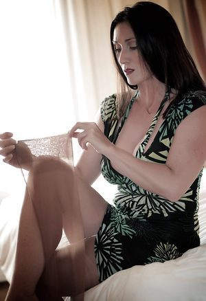 British lady exposing herself in new stockings