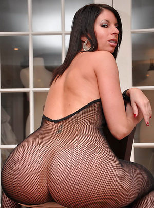 Mature in fishnet